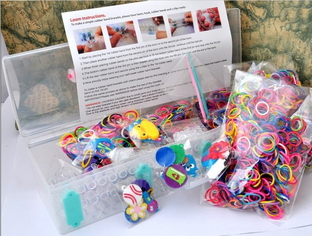 Fun Loom Kit 1set3000 Rubber Bands120 Clips30 Charms2 Hook1
