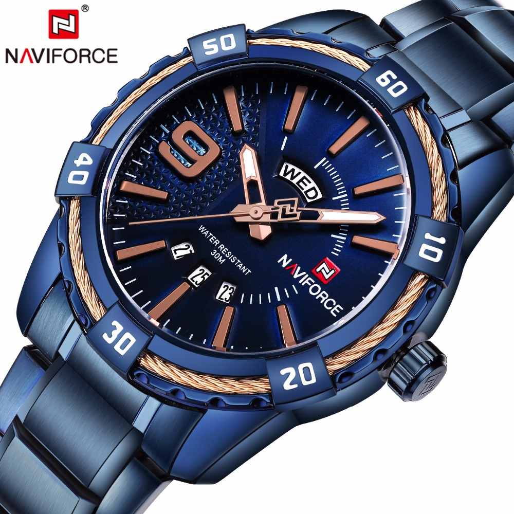 NAVIFORCE Mens Top Brand Luxury Sport Watches Waterproof Quartz Watch Men full steel Blue Military Wrist watch Relogio Masculino mens watches top brand luxury cadisen military sport quartz chronograph watch men waterproof full stainless steel wrist watch