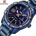 NAVIFORCE Mens Top Marke Luxus Sport Uhren Wasserdicht Quarzuhr Männer voller stahl Blau Military armbanduhr Relogio Masculino
