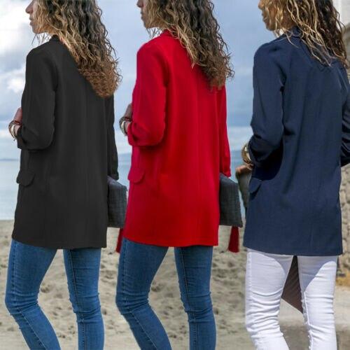Women Fashion Cotton Blend Slim Business Blazers Work Wear Comfortable Suit Outwear New 2019 Autumn Spring