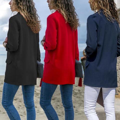 Women Fashion Cotton Blend Slim Business Blazers Work Wear Comfortable Suit Outwear New 2019 Autumn Spring Pakistan