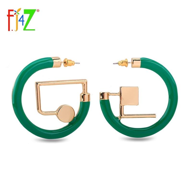 F. J4z Marca 2017 New Hot Design Alla Moda Passerella Fresco Cerchio Verde Geometic Orecchini Per Le Donne Accessori Dress Brividi E Dolori