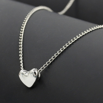 Rainbery 10pcs / lot Wholesale Price Fashion Tiny Heart Necklace Pendant Gold Silver Plated Chain Love Gifts Women Girl Jewelry