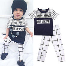 2pcs clothing set!! newborn baby girl boy clothes i'm a richstar latter printed short sleeve tops plaid pants