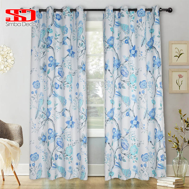 new blackout floral blue curtains for living room kitchen items homenew blackout floral blue curtains for living room kitchen items home decoration birds door corinas window