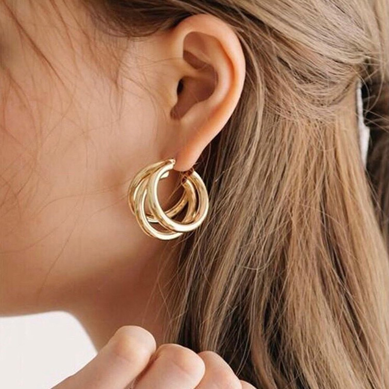 Vintage Gold Three Layer Copper Tube Geometric C Round Shape Circle Hoop Earrings For Girl Women in Drop Earrings from Jewelry Accessories