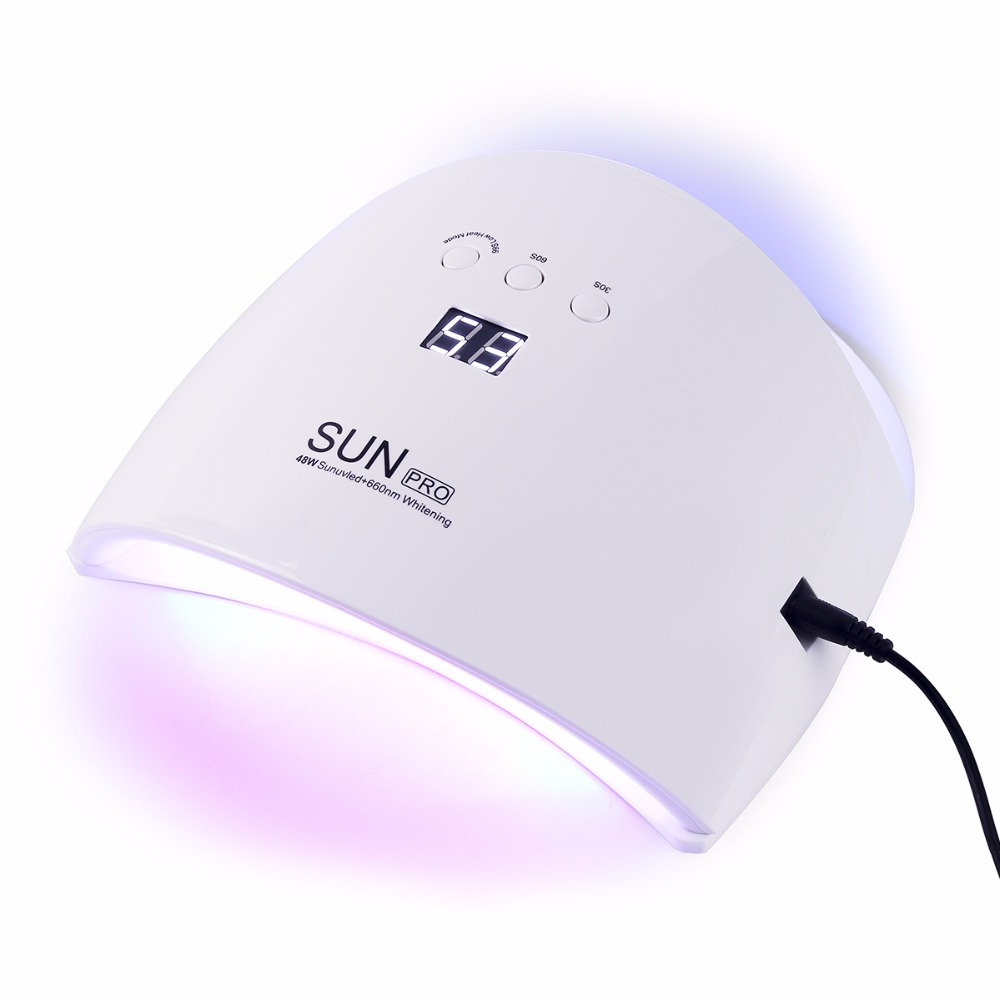 48W LED Nail Dryer Fingernail Toenail Curing Lamp with Automatic Induction and Whitening Function Manicure For Drying All Gels shanghai kuaiqin kq 5 multifunctional shoes dryer w deodorization sterilization drying warmth