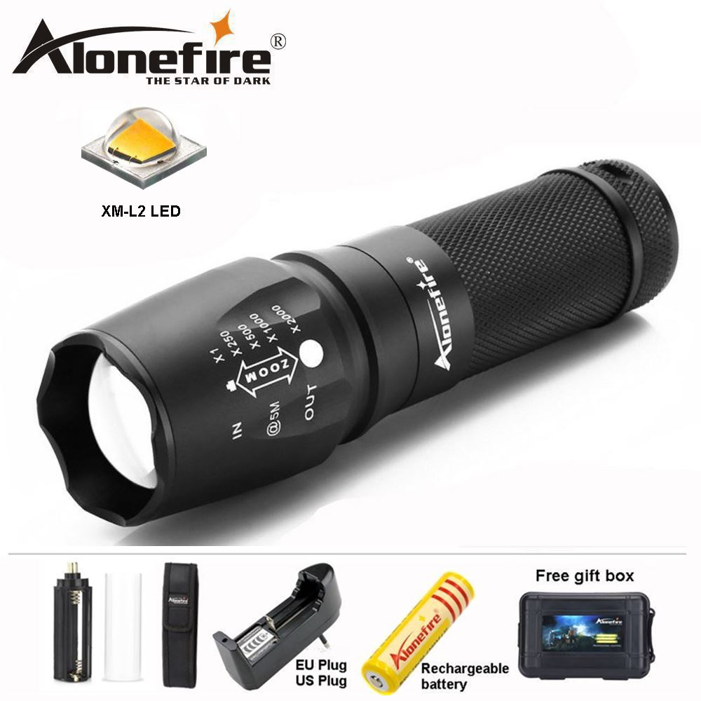 AloneFire E26 LED Flashlight Zoom CREE XML-L2 Led Torch 5 mode 8000 Lumens waterproof Use 18650/26650 Rechargeable battery