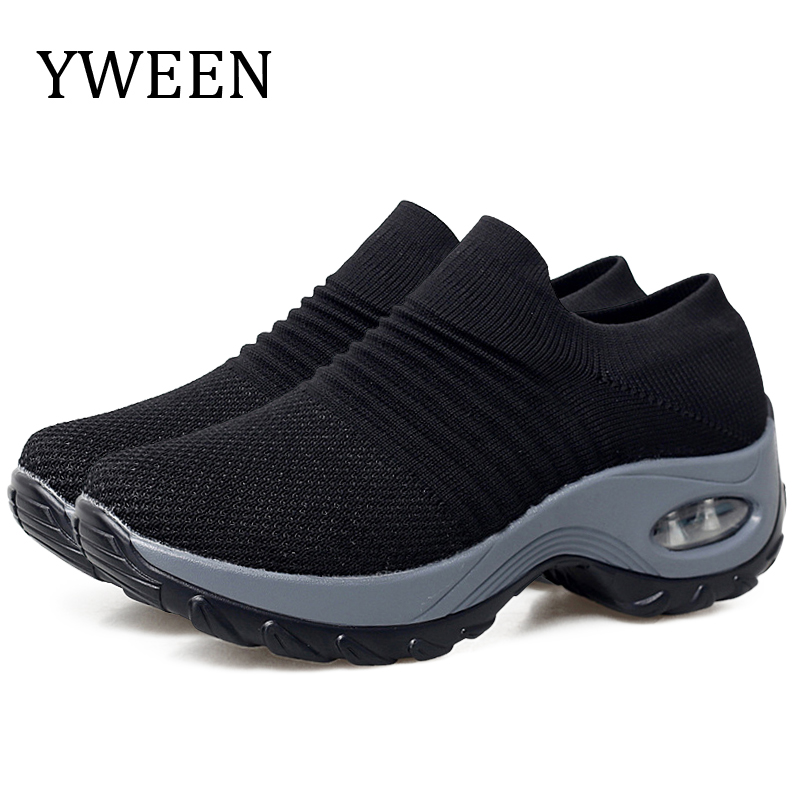YWEEN Women Platform Sneakers Spring Ladies Wedges Casual Shoes Women Trainers Comfortable Femme Height Increasing Women Shoes