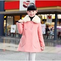 Pink Warm Winter Girls Coat Red Fur Collar Wool Long Outwear Children Winter Coat 2016 Girl Clothes For 6 8 10 12 14 T AKC166005