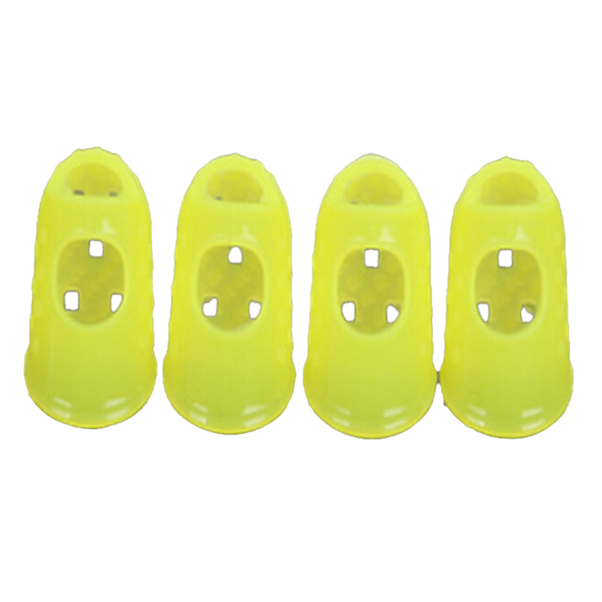 Music-S 4pcs New Soft Silicone Guitar Thumb Finger Picks Protector Fingertips (Yellow XS )