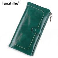 Women Vintage Genuine Leather Wallet Long Fashion Women Wallets Designer Brand Clutch Purse Lady Party Wallet