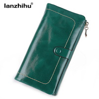 Women Vintage Genuine Leather Wallet Long Fashion Women Wallets Designer Brand Clutch Purse Lady Party Wallet Female Card Holder