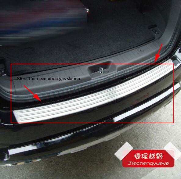 For HYUNDAI Santa Fe Stainless Steel Rear Bumper Protector Door Sill Scuff Plate Trim 2010 2011 2012