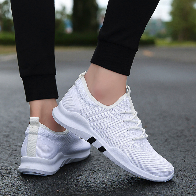 2018 Knit Running Shoes Men Free Outdoor Sport Shoes For Man White Athletic Laces Light Running Shoes For Male Fintness  4