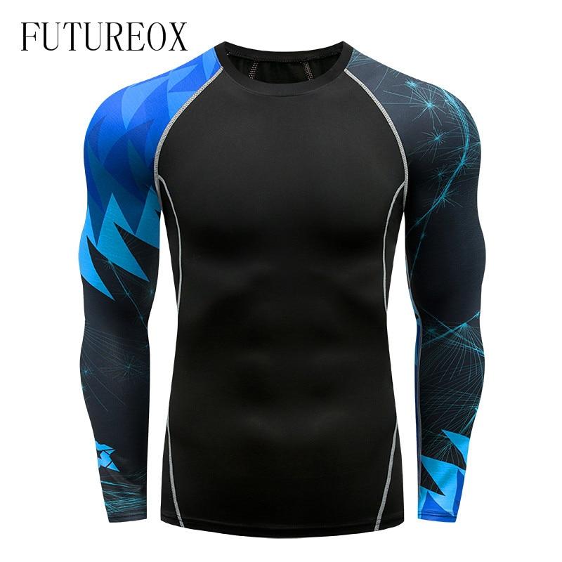 Warm men's new compression   shirt   MMA rashguard fitness men's black compression   T  -  shirt   Slim stretch quick-drying clothes