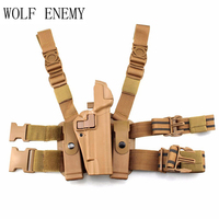 Tactical Right Leg Thigh Hand Holster W/ Magazine Torch Pouch for Colt 1911