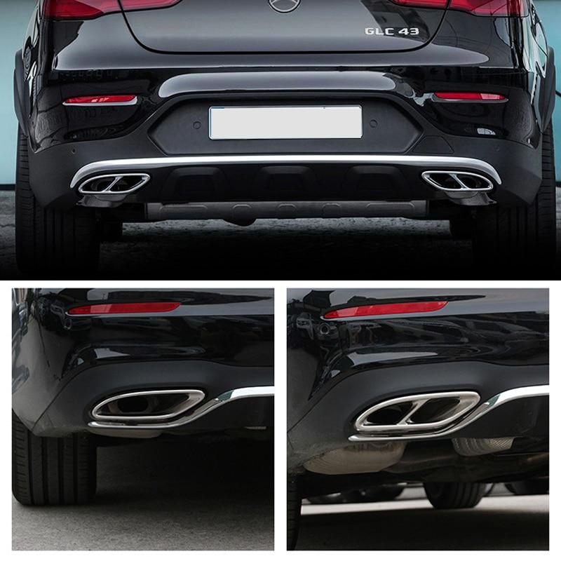 2 pcs Brillant Noir Acier D'échappement Versions Pour Mercedes Benz GLC C E-Classe C207 Coupé 2014-2017 w212 W213 W205 X253 C180 C200 Voiture Partie