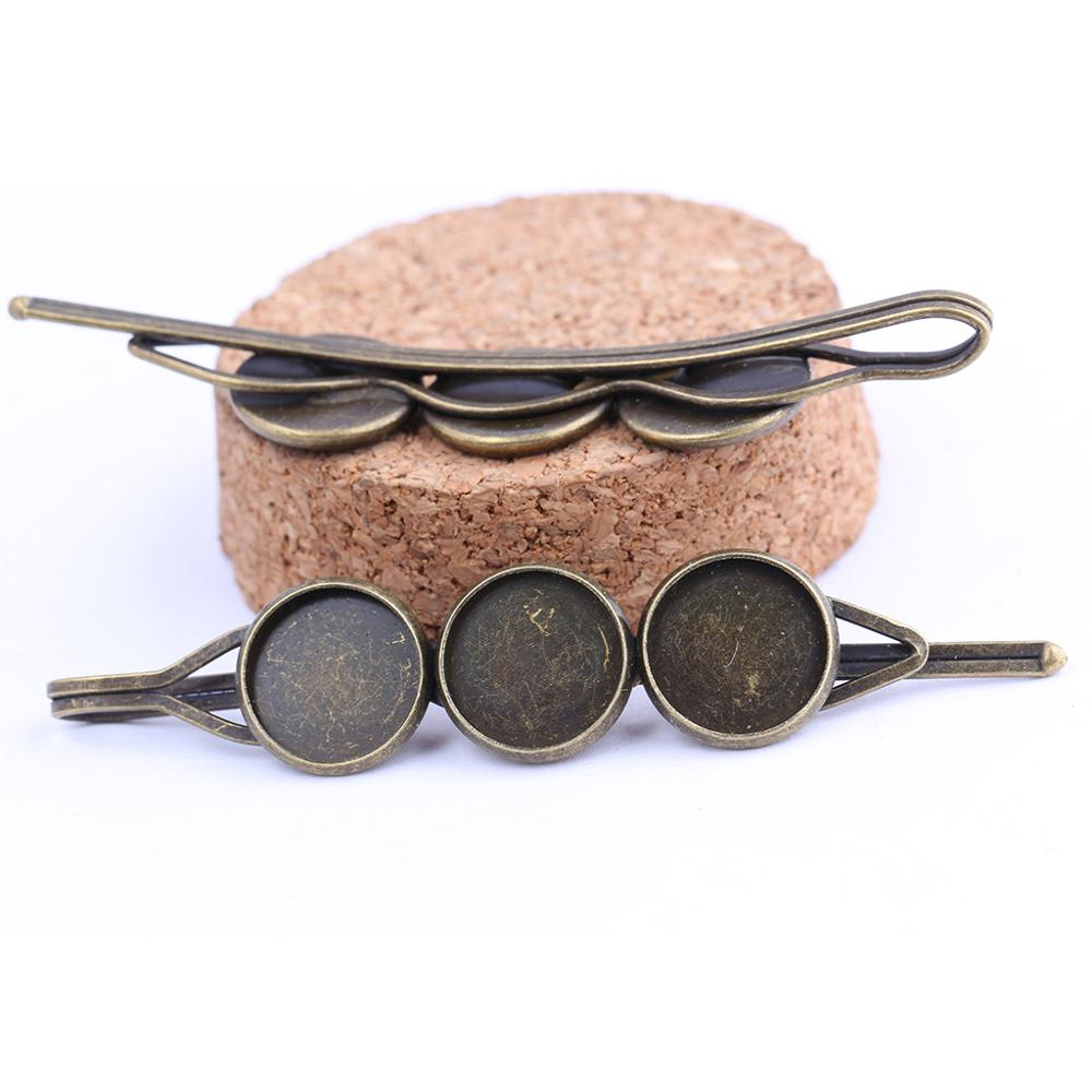 Reidgaller 10pcs Antique Bronze Fit 12mm Vintage Cabochon Hair Clip Base Settings Diy Blank Hairclip Hair Pin Bezel Blanks