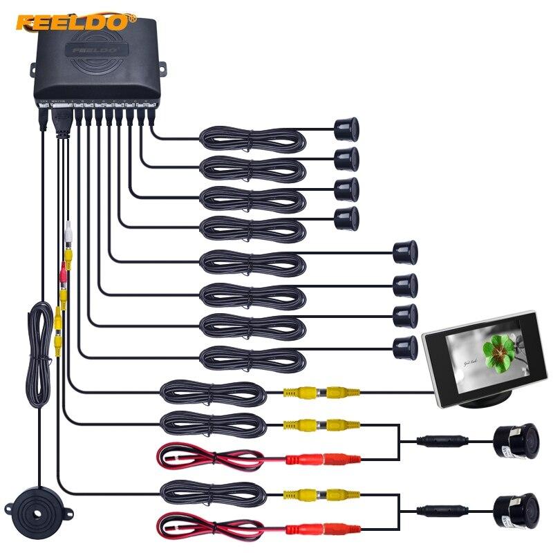 FEELDO 1 Set Car 8 Sensori Anteriore e Posteriore Dual View Sensori di Parcheggio Backup Radar System + Monitor + 18.5mm Camera # FD-4454