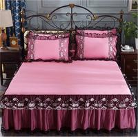 Black Lace Ruffles Bedding Bed Skirt Pillowcases Romantic Bedspread 1/3pc Girls Bedclothes Bed sheet Mattress Cover Queen King