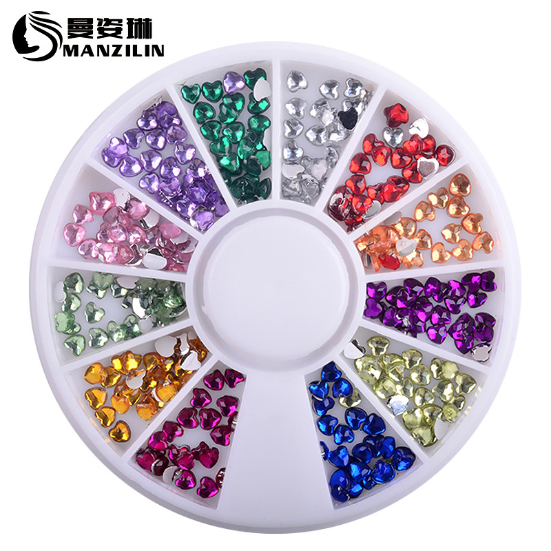 Fashion 3MM Acrylic love Wheel Crystal Nail Stickers Decoration 3D DIY Nail Art Tips Jewelry Glass Rhinestones Manicure tools 3d glitters beads acrylic tips decoration manicure wheels nail art rhinestones