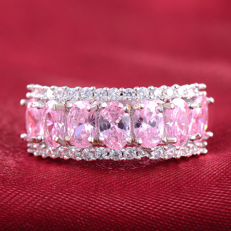 10ct 925 Sterling Silver Oval Pink Sapphire Simulated Diamond White Gold GF Women Engagement Bridal Ring Women Wedding Band Ring