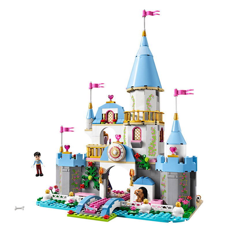 697pcs diy building blocks bricks Compatible with playmobil Girl Friends Cinderellas Romantic Castle toys for girl children gift