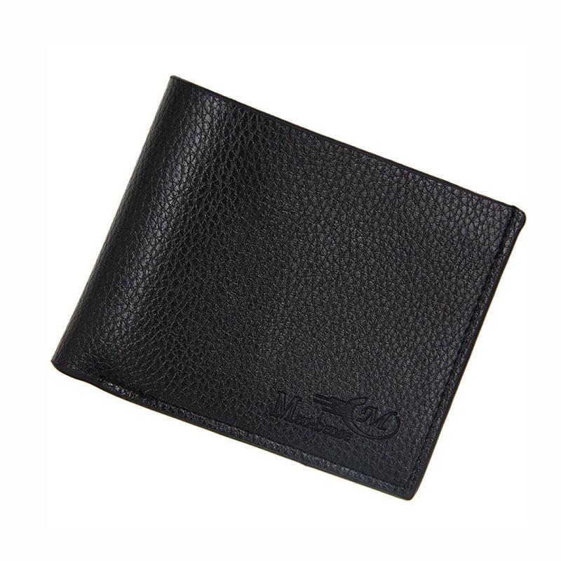 все цены на Fashion PU Leather Wallet Men Vintage Short Men's Purse Casual Solid Men Wallets Coin Purse For Men Thin Card Holder Male Wallet онлайн