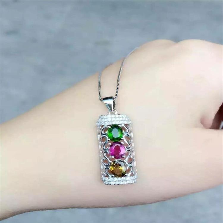 KJJEAXCMY boutique jewels S925 silver natural crystal tourmaline diamond necklace pendant set necklace chain. недорого