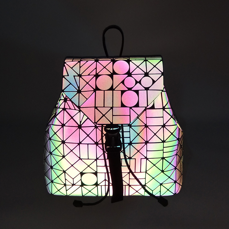 Women Backpack Luminous Geometric Plaid Sequin Female Backpacks For Teenage Girls Bagpack Drawstring Bag Holographic Backpack #5