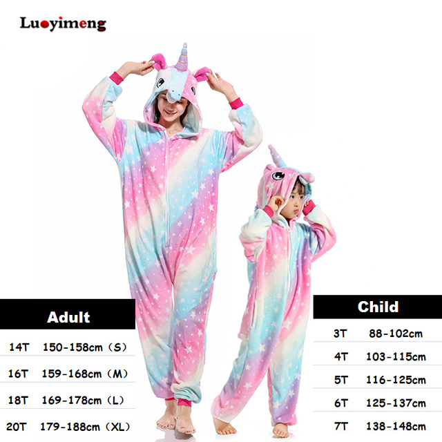 Winter Flannel Pyjamas Kids Onesie Adult Women Animal Unicornio Pijamas Sleepwear Jumpsuit Cosplay Pyjama Girls Boys Pajama Sets
