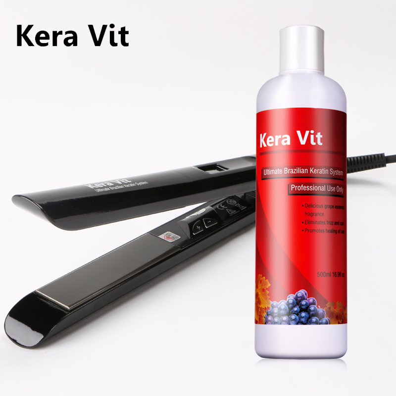 500ml Brazlian Keratin Hair Treatment Straighten Hair  +professional Hair Iron For Diy Design And Repair Hair brazilian grape free formaldehyde keratin treatment straighten hair product hair flat iron soften and smoothing hair