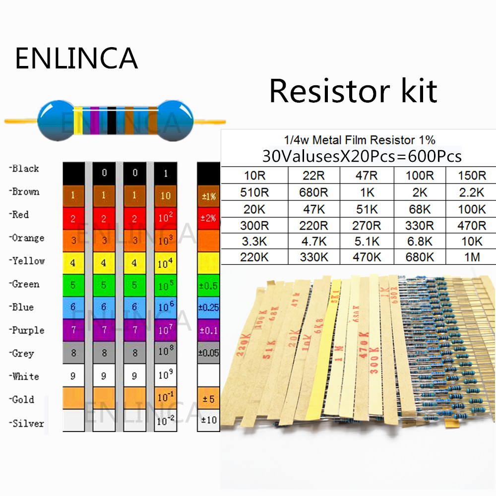 600pcs/lot 30Values* 20pcs 1% 1/4 W resistor pack set diy Metal Film Resistor kit use colored ring resistance (10 ohms~1 M ohm)600pcs/lot 30Values* 20pcs 1% 1/4 W resistor pack set diy Metal Film Resistor kit use colored ring resistance (10 ohms~1 M ohm)