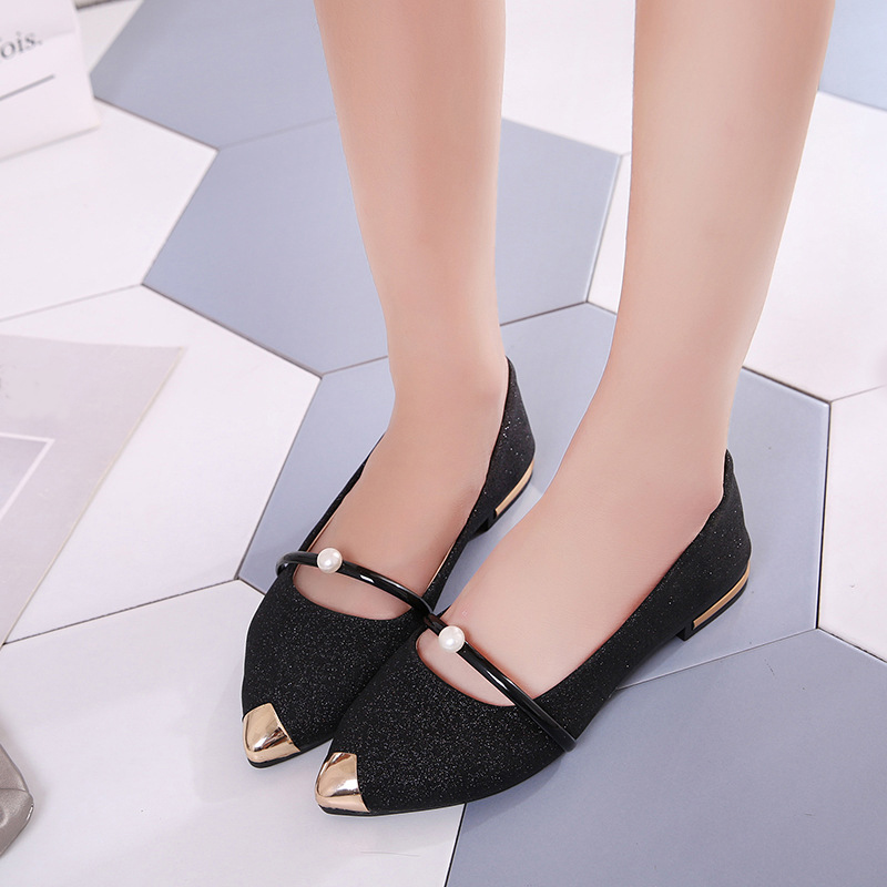 Women Pointed Toe Flats Bling Pearl Autumn Ballet Wedding Slip On Shoes Female Casual Metal Ladies Comfortable Fashion Footwear women s flats shoes spring autumn comfortable square toe metal decoration slip on ballet flats ladies boat shoes casual loafers