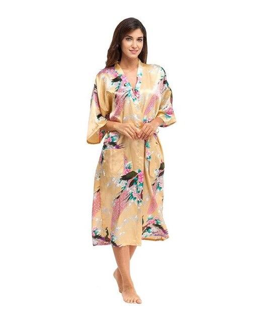 Sexy ouro feminina Kimono Bath vestido Rayon de seda pijamas longo impresso camisola casamento noiva Robe tamanho sml XL XXL XXXL A-039