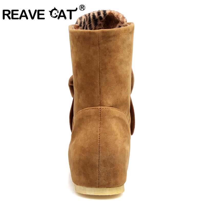 REAVE KEDI Artı boyutu 32-45 Zapatos mujer moda ayakkabılar kadın yarım çizmeler Papyon Bayan botları Payetli Moda Rahat Daireler RL3542