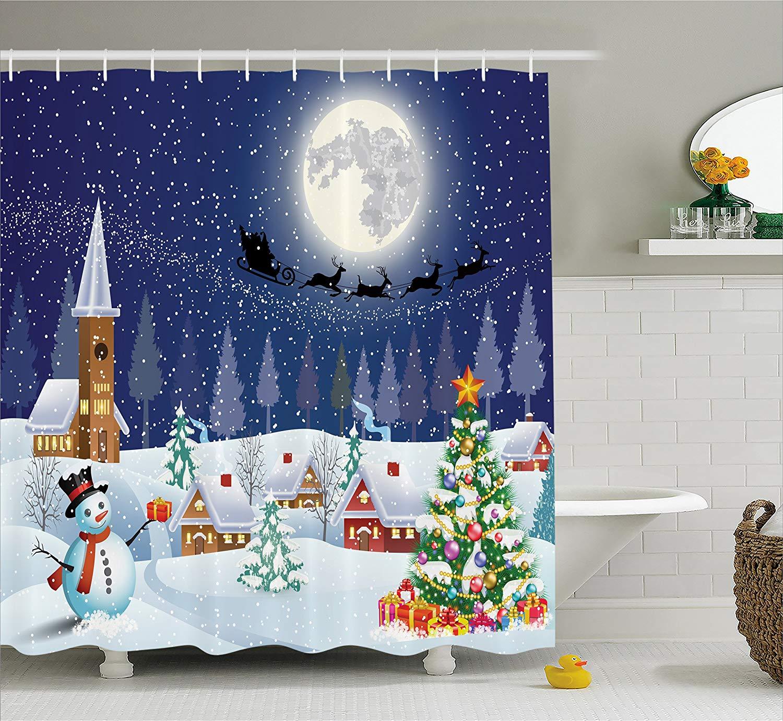 Christmas Shower Curtain, Winter Season Snowman Xmas Tree Santa Sleigh Moon Present Boxes Snow and Stars, Fabric Bathroom Decor