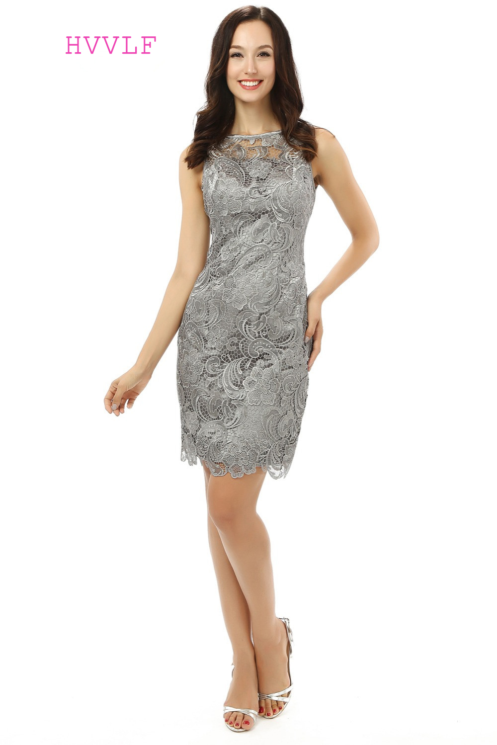 US $63.65 5% OFF Open Back 2019 Mother Of The Bride Dresses Sheath Knee  Length Gray Lace Formal Groom Plus Size Short Mother Dresses For Wedding-in  ...