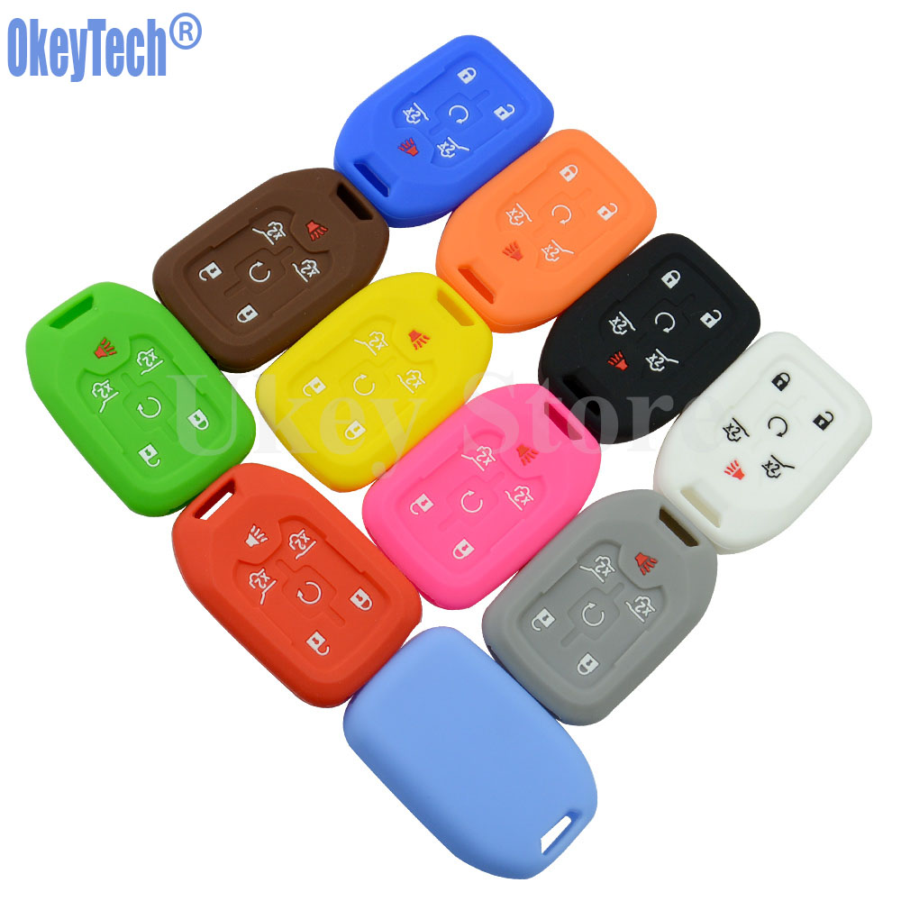 OkeyTech Silicone Car Key Fob Remote Cover Case For CHEVROLET 2015 2016 GMC YUKON SUBURBAN TAHOE 6 Button Key Holder Protector