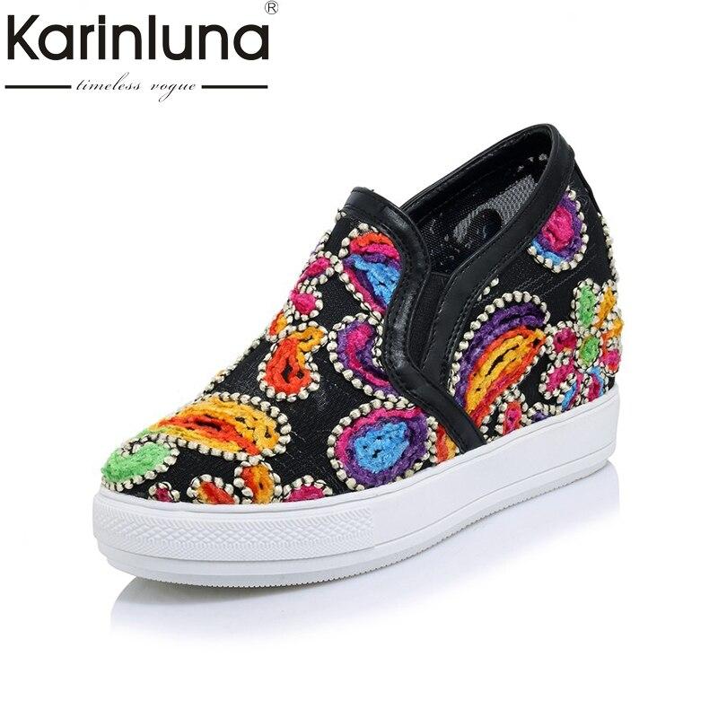 KARINLUNA New Fashion Big Size 32 45 Platform Women Shoes Mesh Embroidery Wedge Heels Dating Comfort