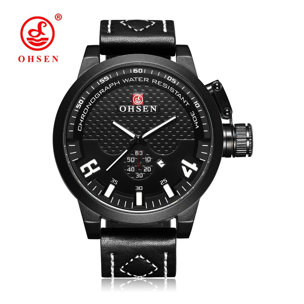 OHSEN Fashion White Men Quartz Wristwatch relogio masculino Calendar function Leather Strap Waterproof Casual Military Watches|watch f|watch fashion|watch military - title=