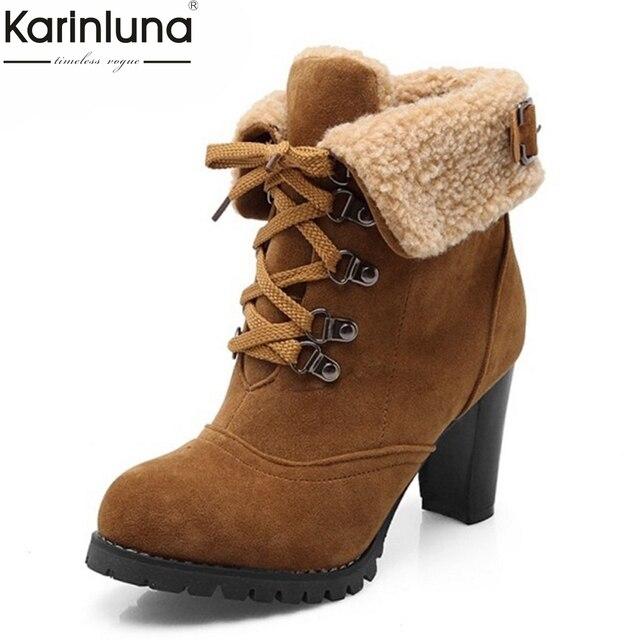 0bc874538 KarinLuna 2018 cores Tamanhos grandes 32-43 6 Ankle Boots de Salto Alto  Moda feminina