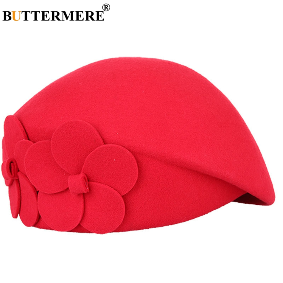 BUTTERMERE Elegant Hats For Ladies Wool Red Fedoras Flower Grace French Berets Women Cap Solid Warm Autumn Winter Felt Hat Black 18