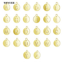 WFSVER 26pcs/lot A-Z letter charms pendant gold color stainless steel accessories for necklace bracelet diy jewelry making
