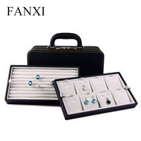 FANXI Free Shipping Wooden Packing Case With Velvet Insert For Necklace Pendant And Ring Storage PU