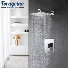 Torayvino Bathroom Shower Faucet Set Wall Mounted Rainfall Single Handle Modern Chrome Brass Square Head Shower Set