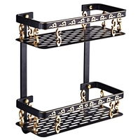 Europe Classic Shelves Double Layer Rack Space Aluminum Wall Bathroom Shelf Storage Rack