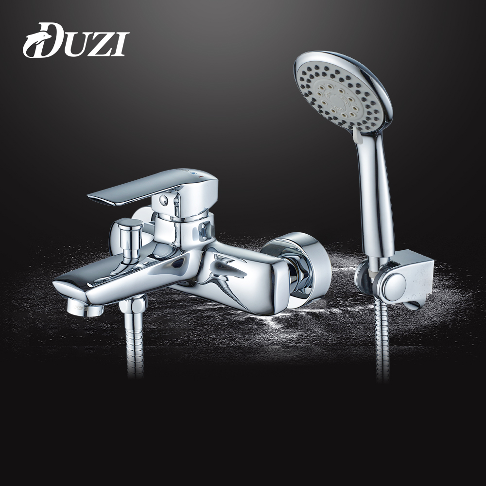 DUZI Wall Mounted Bathroom Faucet Bath Tub Mixer Tap With Hand Shower Head Shower Faucet Sets Chrome Bath Faucet Mixer Tap D5137 shower faucet wall mounted antique brass bath tap swivel tub filler ceramic style lift sliding bar with soap dish mixer hj 67040