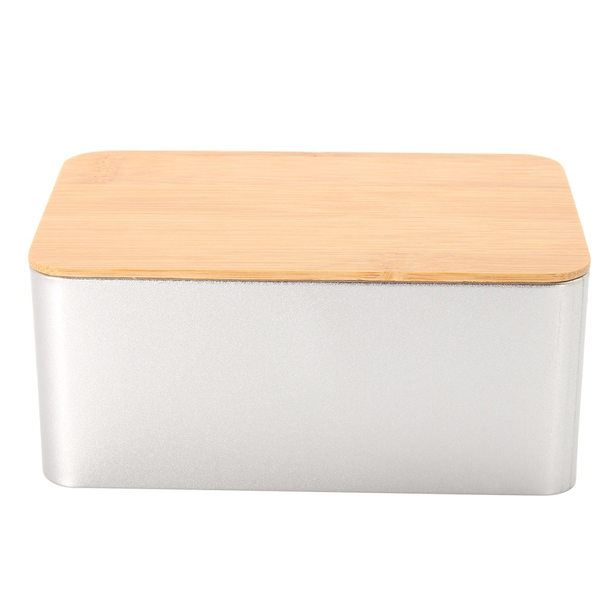 Kitchen Metal Storage Box With Bamboo Lid Bins Bread Sugar Boxes Tea Herb Stoarge Holder Food Containers Organizer Supplies 3